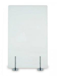 Biombo separador de cristal transparente, translúcido o en color - Biombo para oficinas de cristal (transparente, translúcido o en color a elegir),soportado por patas de acero en diferentes colores. Varios tamaños a escoger, que van desde los 80 cm de ancho hasta los 180 cm de alto, a los que se pueden añadir todas las extensiones necesarias para diseñar la separación a tu gusto del espacio de trabajo.