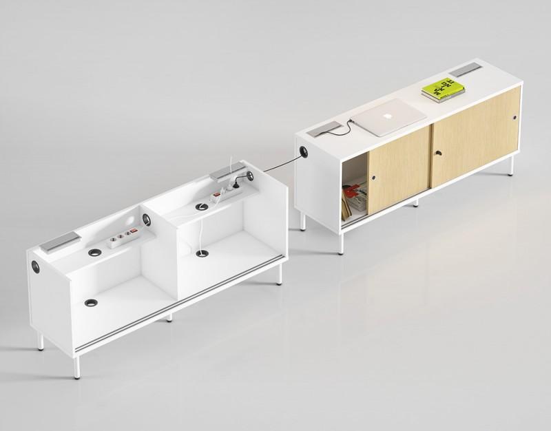 Ejemplo de como electrificar de los armarios de oficina - Ejemplo de como podemos electrificar de los armarios de oficina en la serie nórdica duo