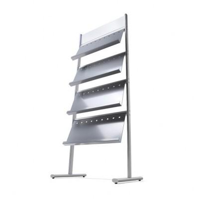 Estantería portafolletos para 12 Din A4 a 1 cara - Estantería de aluminio anodizado plata, pies y carriles cruzados  con 4 receptáculos para 3 bloques de folletos A4.  - Posibilidad de instalar hasta 8 estantes para la versión de doble cara. Se suministra sin montar.