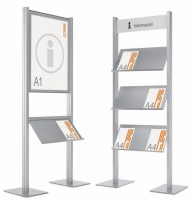 Expositores de información con peana - Expositores de información de diseño Conjunto formado por un portapósters de formato DIN A1, a una o dos caras y portaestantes metálico gris sobre estructura doble de aluminio anodizado en plata mate.