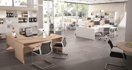 Mesa de oficina curva basic 180*80*74 - Mesa de oficina curva linea basic -180 cm. de larga x 80/90 cm. de fondo x 74 de altura -cantearda en pvc anti-golpes