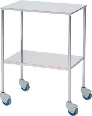 Mesa auxiliar cromo-inox con 2 estantes fijos - - Estructura acero cromado, entrepaño superior e inferior lisos en acero inoxidable - Cuatro ruedas para su mejor desplazamiento - Medidas: 60 ancho x 40 fondo x 80 alto