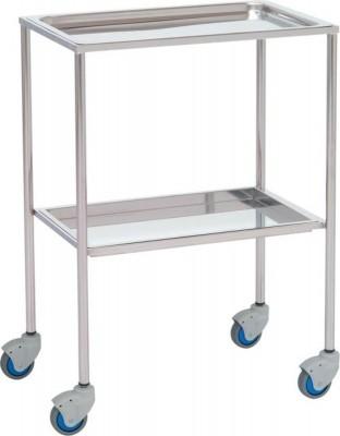 Mesa 2 bandejas inox extraíbles - Mesa auxiliar. Fabricada en su totalidad en Acero Inox. Bandejas superior e inferior extraíbles. Cuatro ruedas para su mejor desplazamiento.