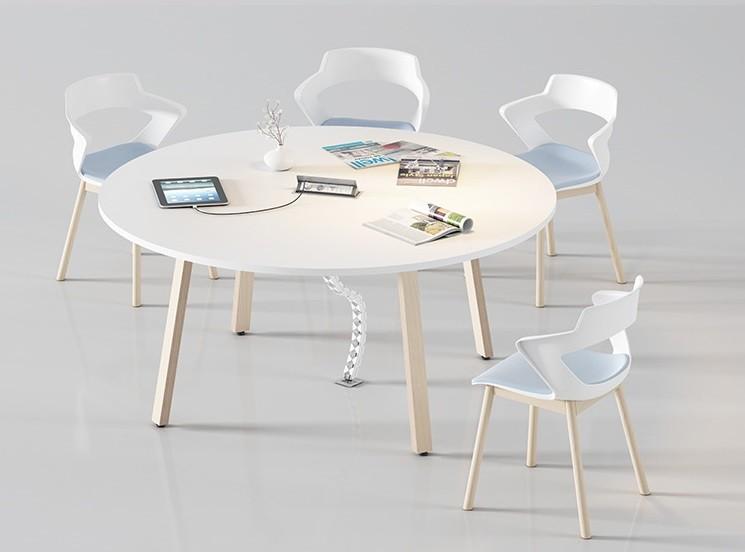 Mesa de reuniones redonda - En las mesas de reuniones como en el resto de la serie puedes elegir el tipo de pata, bien metálica o bien en madera como aparece en la foto.