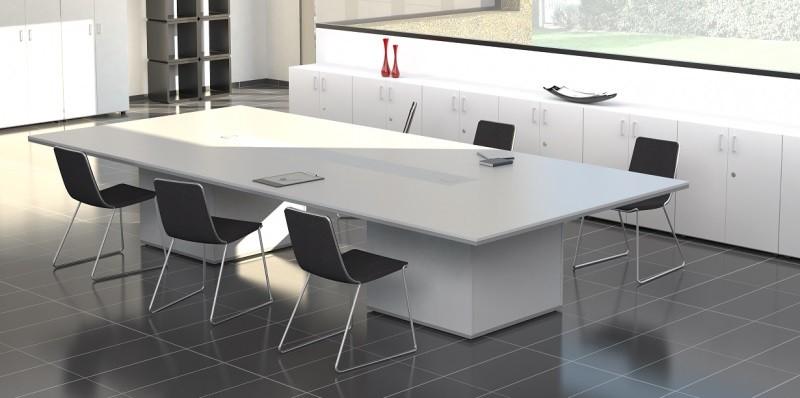 Mesa de reuniones moderna en blanca y gris - Esta serie de mobiliario de diseño actual te permite crear mesas de reuniones que al igual que el resto de la línea, puedes combinarla con los colores que quieras, las patas cuadradas debido a su anchura permiten crear un armario bajo la mesa de reuniones, además en el tablero de la mesa se puede insertar cajetín para enchufes y tomas de red, además podemos crearte tu mesa de reuniones a medida para adaptarse al espacio de tu sala de reuniones.