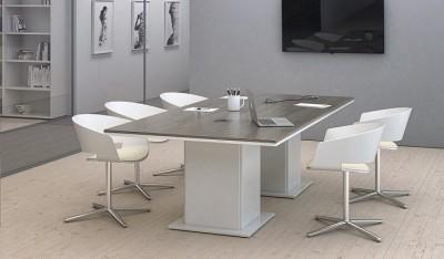 Mesa de reuniones base blanca - Esta serie de mobiliario de diseño actual te permite crear mesas de reuniones que al igual que el resto de la línea, puedes combinarla con los colores que quieras, las patas cuadradas debido a su anchura permiten crear un armario bajo la mesa de reuniones, además en el tablero de la mesa se puede insertar cajetín para enchufes y tomas de red, además podemos crearte tu mesa de reuniones a medida para adaptarse al espacio de tu sala de reuniones.
