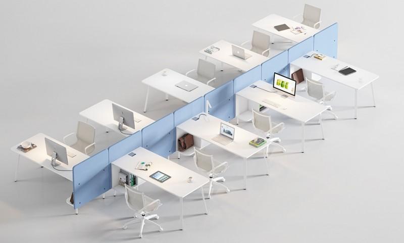 Ejemplo de puestos de trabajo en linea - Ejemplo de puestos de trabajo en linea utilizando los separadores para crear espacios mas íntimos.