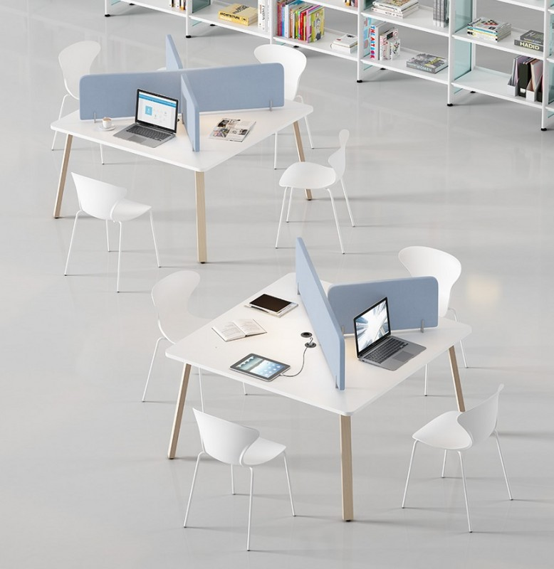 Mesa polivalentes para bibliotecas con separadores  - Mesa polivalentes para bibliotecas con separadores, estilo nórdico configurado a tu gusto.