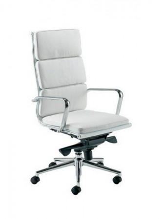 Sillón de oficina alto similpiel B/N - Sillón de dirección cómodo y de diseño actual.  Respaldo alto, elevación por pistón a gas, basculante avanzado multifunción, tapizado similpiel blanca o negra.  No dude en completar su despacho con el sillón medio giratorio y fijo de visitas a juego. Estructura y brazos cromados. Medidas: Ancho: 62 cms Fondo: 63 cms Altura: 112~122 cms Altura suelo-asiento: 53,5~61 cms