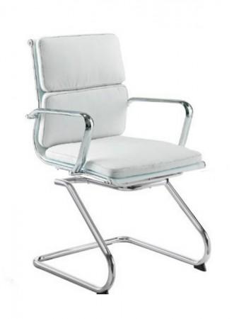 Sillón confidente B/N - Sillón fijo de patín, diseño elegante y actual, cromado, tapizado similpiel Blanca o Negra.   Va a juego con el sillón de dirección de respaldo alto y con el sillón de oficina de respaldo medio. Medidas: Ancho: 62 cms Fondo: 63 cms Altura: 112~122 cms Altura suelo-asiento: 53,5~61 cms
