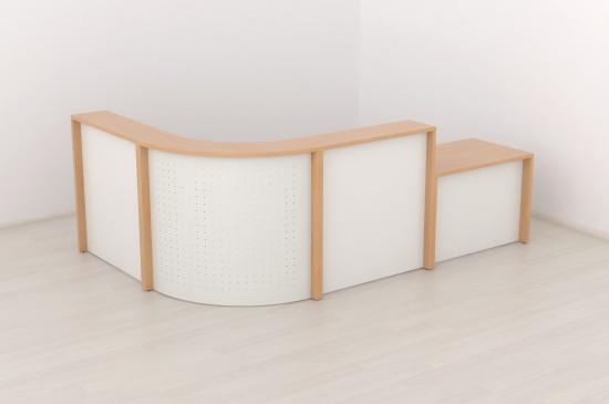 Recepción mostrador cristal y wengue. - Recepción mostrador cristal y madera, recepciones modulares que se adaptan al espacio disponible a la perfección, con los módulos podemos hacer recepciones para nuestra empresa desde un mínimo de 130 cm. al infinito, disponible con la estructura blanca, wengue, teka y nogal , los paneles frontales en cristal (foto). El precio es sorprendentemente económico. Consúltenos.