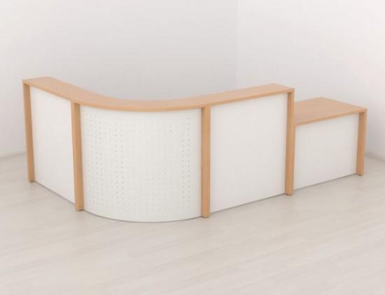 Recepción curva Walk en melamina - Composición de recepción formada por 2 cuerpos de 106 cm de melamina (Disponible en más medidas: 126,146,166,186 y 206 cm), 1 módulo curvo de 90º y 1 módulo mostrador bajo de 96 cm.  Mesa interior de 60 cm de fondo con patas metálicas. Disponible en una gama variada de acabados( haya, acacia suave, acacia chocolate, arce, cerezo, roble oasis, ceniza, blanco, gris claro, aluminio, grafito, negro, etc.)