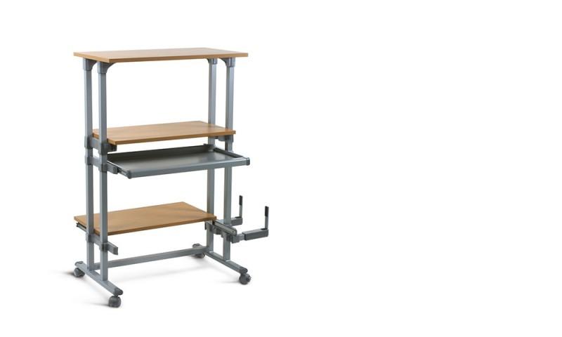 Mesa torre - Mesa torre para puestos de trabajo de pie y sentado. Versátil, diseñada para brindar un puesto de trabajo integral. Incorpora la bandeja porta teclado extraible y regulable, el entrepaño intermedio regulable en altura y el soporte CPU.