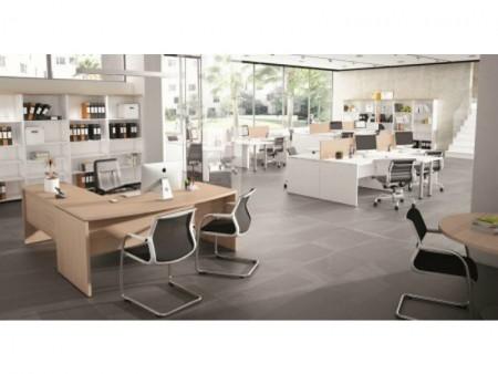 Mesa de oficina curva basic 180*80*74 - Mesa de oficina curva linea basic -180 cm. de larga x 80/88 cm. de fondo x 74 de altura -canteada en pvc anti-golpes