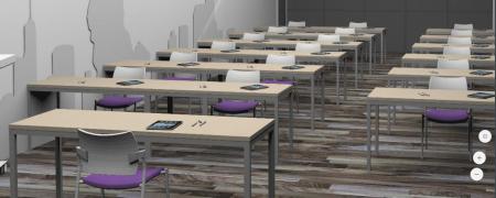 Aula de formación Serie Valencia - Composición aula: - Mesas dobles de estructura de acero en color aluminio (Medidas: largo 120 x fondo 60 x alto 75-77) y tapa de melamina en color haya (otros colores a escoger). - Mesa de profesor de estructura en acero en color aluminio (Medidas: largo 180 x fondo 60 x alto 75-77) y tapa de melamina en color haya (otros colores a escoger). - Sillas confidente, asiento tapizado (varios colores a escoger), respaldo de polipropileno, con y sin brazos, estructura metálica color gris o negro.