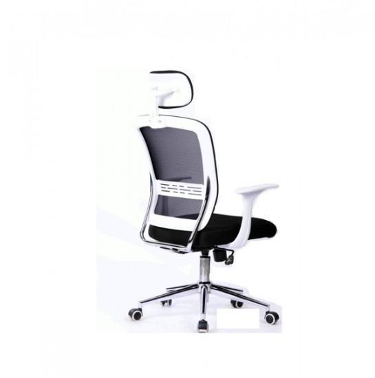 Silla de escritorio con cabecero, respaldo en malla y brazos