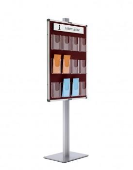 Expositor para folletos con peana - Expositor porta folletos de metacrilato, disponible en  en 2 formatos: 9xDin A4 o 12x1/3 tríptico din A4, montados sobre tablero tapizado en textil y enmarcado con perfil de aluminio plata mate. Soporte vertical en aluminio con base metálica cuadrada. Gracias a las múltiples combinaciones, son el complemento ideal para el equipamiento de oficinas, recepciones, halls, etc...