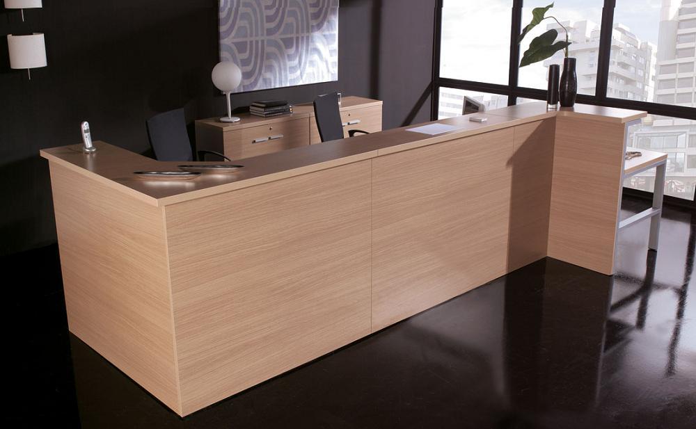 Mueble de recepci n color haya wengue blanco etc for Muebles de oficina color blanco