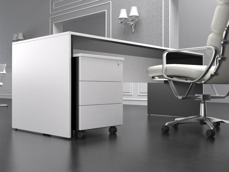 Mesa de oficina de diseño moderno color blanco y negro ...