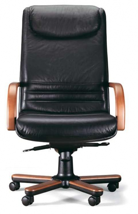 Sill n de piel brazos de madera muebles de oficina for Sillones oficina ergonomicos precios
